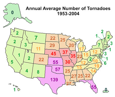 Figure 15 This Map Shows The Average Number Of Tornadoes In Each State Across The United States Notice How The Central United States Contains The Highest