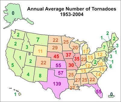 Severewx Tornadoes - Map of us tornadoes